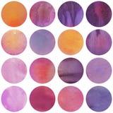 Vattenfärgen cirklar samlingen i lilor och lilafärger royaltyfria bilder