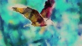 Vattenfärgen drog himmelflugan för den skalliga örnen stoppar den sömlösa öglan för rörelsetecknad filmanimeringen - nya kvalitet stock illustrationer