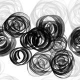 Vattenfärgen, färgpulver eller gouachen plaskar och knyter seamless swirls för modell Svarta grungefläckar för målarfärg royaltyfri illustrationer