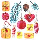 Vattenfärgen för glad jul och för det lyckliga nya året ställde in royaltyfri illustrationer