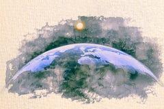 Vattenfärgen för semisphere för planetjordkupolen skissar målning stock illustrationer