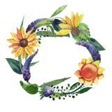 Vattenfärgen isolerade kransen med solrosor, violetta blommor, sidor och örter stock illustrationer