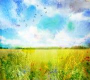 Vattenfärgen landskap Royaltyfri Bild