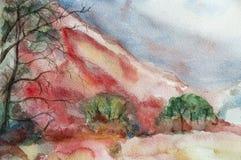 Vattenfärgen landskap med berg arkivbild