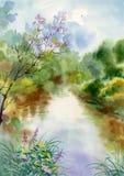 Vattenfärgen landskap samlingen stock illustrationer