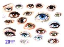 20 vattenfärgen målade ögon av olika färger med makeup, ögonfrans, viktig ställde in royaltyfri illustrationer