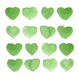 Vattenfärgen målade grön hjärta, beståndsdelen för din design Arkivbilder
