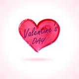 Vattenfärgen målade röd hjärta, typografi för dag för valentin` s fri Fotografering för Bildbyråer