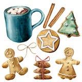 Vattenfärgen rånar med kakao och julbakelse Handen målade koppen av kakao, marshmallow, kakor och kanelbruna pinnar royaltyfri illustrationer