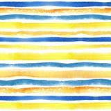 Vattenfärgen river av den sömlösa modellgränsen yellow Arkivbilder