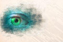 Vattenfärgen skissar målning av dataögat vektor illustrationer