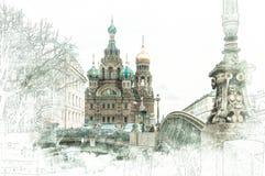 Vattenfärgen skissar målning av kyrkan av frälsaren på blod, St Petersburg stock illustrationer