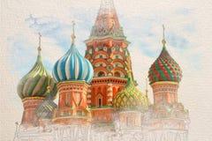 Vattenfärgen skissar målning av St Basil Cathedral arkivbild