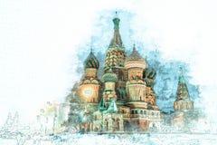 Vattenfärgen skissar målning av St Basil Cathedral, Moskva arkivfoton