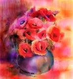 Vattenfärgen som målar den färgrika buketten av vallmo, blommar i vas