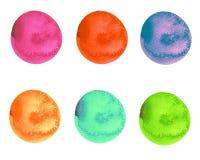 Vattenfärgen ställde in av ljusa flerfärgade borsteslaglängder för rund form stock illustrationer