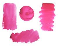 Vattenfärgen ställde in av ljusa rosa borsteslaglängder vektor illustrationer