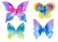 Vattenfärgen ställde in av mångfärgade fjärilar som isolerades på den vita bakgrunden royaltyfri illustrationer
