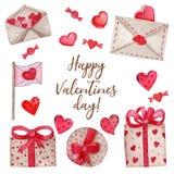 Vattenfärgen ställde in för valentins dag royaltyfri illustrationer