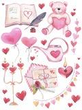 Vattenfärgen ställde in för valentins dag Romantiska beståndsdelar som isoleras på vit bakgrund royaltyfri illustrationer
