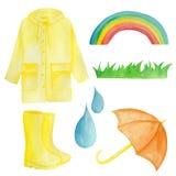 Vattenfärgen ställde in med gult regn, paraplyet, regnbågen, regndroppar vektor illustrationer