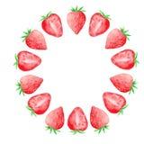 Vattenfärgen ställde in med söta jordgubbar stock illustrationer