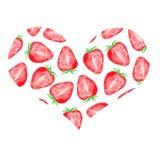 Vattenfärgen ställde in med söta jordgubbar vektor illustrationer