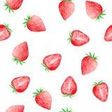 Vattenfärgen ställde in med söta jordgubbar royaltyfri illustrationer