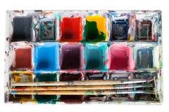 Vattenfärger och paintbrush Arkivfoton