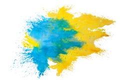 Vattenfärgfärgstänk på vit bakgrund stock illustrationer
