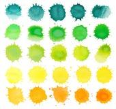 Vattenfärgfärgstänkuppsättning Royaltyfri Foto