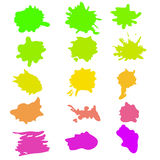 Vattenfärgfärgstänkuppsättning i vektor Arkivbild