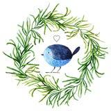 Vattenfärgfågel Arkivfoto