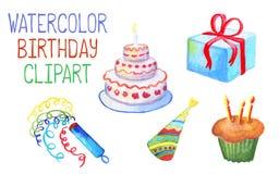 Vattenfärgfödelsedagdekor på vit bakgrund födelsedagcaken undersöker illustrationvektorn Arkivfoto