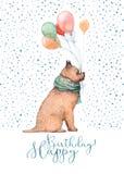 Vattenfärgfödelsedaghund arkivfoto