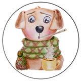 Vattenfärgförkylninghund Royaltyfria Foton