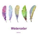 Vattenfärgfjädrar, hand som dras som är färgglad och som är älskvärd stock illustrationer
