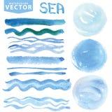 Vattenfärgfläckar, borstar, vinkar Blått hav, hav Sommaruppsättning Arkivbilder