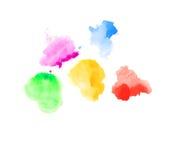 Vattenfärgfläckar på vit Arkivbilder