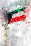 Vattenfärgflagga av Staten Kuwait stock illustrationer