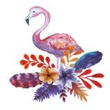Vattenfärgflamingo och blommor royaltyfri illustrationer