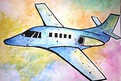 Vattenfärgflygplanillustration Royaltyfri Fotografi