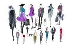 Vattenfärgfolk med shoppingpåsar Mode försäljning, höst royaltyfria foton