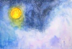 Vattenfärggalaxfullmåne, moln och stjärnor royaltyfri illustrationer