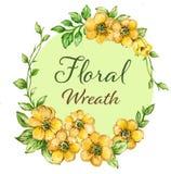 Vattenfärggouachebuketter av blommakransramen ställde in royaltyfri illustrationer