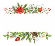 Vattenfärggränser med julsammansättningar stock illustrationer
