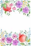 Vattenfärggranatäpple och blommor Hand dragen textur med blom- beståndsdelar, granatröttvektorbakgrund Arkivfoton