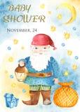 Vattenfärghälsningkort med gnom, lykta, kristaller royaltyfri illustrationer