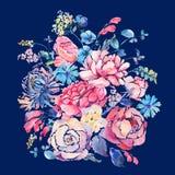 Vattenfärghälsningkort med rosor och vildblommor royaltyfri illustrationer