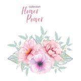 Vattenfärghanden målade rosa den isolerade anemon- och pionbuketten för blomma Arkivfoto
